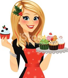 A festive baker with her freshly made holiday cupcakes! Single cupcake and cupcake tray removable in Ai . Red hair streaks, apron, snowflakes, holly hair clip, all removable in Ai.