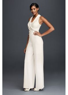 Cute for Tomboy bride.Tuxedo Lapel Bridal Jumpsuit 183545DB