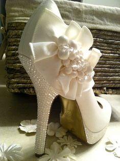 Ivory Wedding Shoes with Swarovski crystals