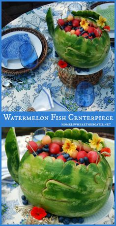 Perfect for snacks, watermelon with fruits inside a fish