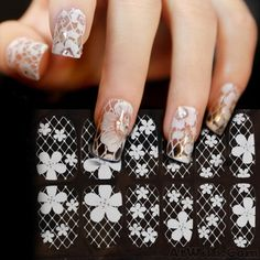 Wow~ Awesome Fresh White Hollow Lace Flower Diamond Full Cover Nail Art Sticker Decals! It only $6.99 at www.AtWish.com! I like it so much<3<3!