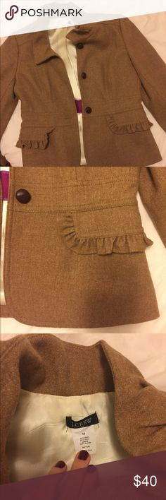 J. Crew dark tan wool blazer with ruffled trim J. Crew wool blazer. Fully lined. Like new condition! 3 large buttons down the front. J. Crew Jackets & Coats Blazers