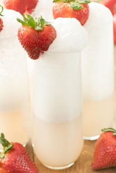Strawberry Shortcake Mimosa - just three ingredients to the prettiest mimosa recipe ever! This champagne cocktail is perfect for brunch!
