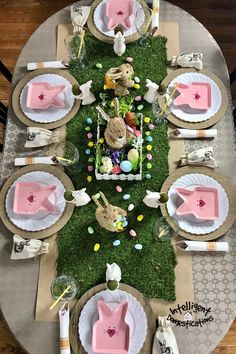 Bunnies giving out Easter eggs theme. Pink bunny dishes and botanical touches bring the outdoors in for this Easter decorated dining room. Easter Egg Candy, Easter Egg Crafts, Easter Bunny, Easter Decor, Easter Ideas, Easter Table, Easter Party, Bunnies, Bunny Bunny