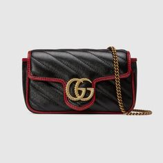Gucci Leather Torchon Super Mini Bag In 8277 Black Double G, Gucci Gifts, Black Leather Crossbody Bag, Crossbody Bags, Fashion Bags, Gucci Fashion, Womens Fashion, Bucket Bag, Gg Marmont