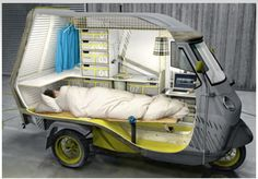 Based on an already-popular compact three-wheeled vehicle (the Piaggio), the Bufalino has an amazing array of things you would expect to find only in a super-sized mobile home, including full cooking gear, wash basin, ample storage, sleeping space, lounge chair and more. In front is a bicycle-like handlebar and a small flip-down laptop desk. When the back flips up it is hanging space for drying clothes. The roof is a place to lie down under the stars. see amazing pix at dornob.com