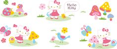 Hello kitty material de vectores ilustrador de dibujos animados