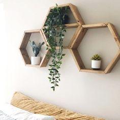 Wood Hexagon Shelves // SET OF THREE // geometric // honeycomb shelves // wood wall decor // rustic Honeycomb Shelves, Hexagon Shelves, Do It Yourself Inspiration, Large Shelves, Rustic Wall Decor, Plant Wall Decor, Rustic Wood, My New Room, Bedroom Decor