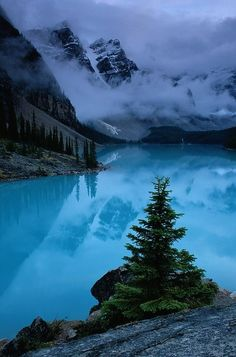 View of Moraine Lake, Banff National Park with Low Lying Clouds