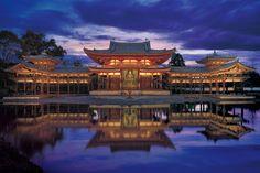 Hoo-do Hall (the Phoenix Pavilion) Fujiwara Yorimichi, at Kyoto Prefecture, Japan, consecrated 1053