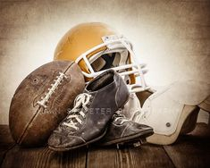 This listing is for One print of a 1950s vintage football, helmet, old football cleats and some old football pads. The sepia, distressed tones will add so much warmth and character to your space. This would be a perfect print for your little boys room, nursery or a man cave!  Please select either Kids Room Murals, Kids Room Paint, Kids Room Wall Art, Kids Rooms, Football Pads, Football Gear, Football Cleats, Professional Photo Lab, Man Cave Home Bar