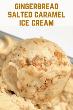 Gingerbread Ice Cream with Gingerbread Cookies: A quick & easy healthy icecream recipe - or rather nice cream- made using leftover Christmas gingerbread cookies and homemade vegan salted caramel. The result? - a delicious easy salted caramel & gingerbread Christmas ice cream dessert recipe!