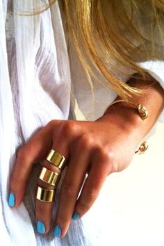 blue nails + gold jewelry