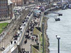 Promenade along the Rhine in Dusseldorf, Germany