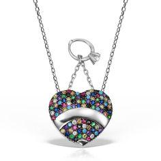 Colier argint cu pietre 42 cm colorate - Inima - MCN0022 Pendant Necklace, Jewelry, Jewlery, Jewerly, Schmuck, Jewels, Jewelery, Drop Necklace, Fine Jewelry