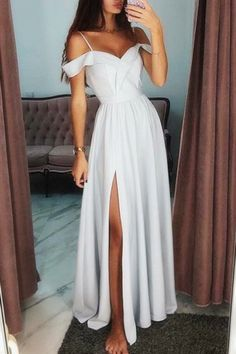 Elegant Cold Shoulder Side-Split Prom Evening Dress - White Dresses - Ideas of White Dresses - elegant white cold shoulder split prom party dresses fashion formal evening gowns Elegant Prom Dresses, Prom Party Dresses, Pretty Dresses, Homecoming Dresses, Beautiful Dresses, Evening Dresses, Dress Prom, Formal Dresses For Weddings, Summer Formal Dresses
