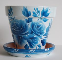 """""""Blue Roses, Blue leaves"""" clay flower pot."""