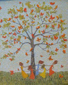 "Mosaic Art Gallery | Little girls dancing around a tree filled with butterflies.10"" x 12 ..."