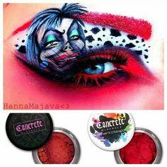 Cruella De Vill eye make up.