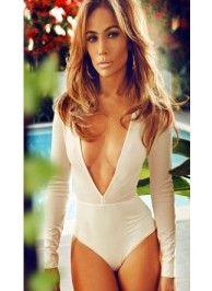 White plunging neckline long sleeved bodysuit