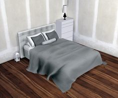 Esatto Paris Quadro Bedroom • 1 Bed merged with mattress ( UV Map and size edited ) • 1 End Table • 1 Table Lamp • 3 Meshes Pillow • 1 Blanket ( Size edited ) **Each item has 3 Swatches ( White, Grey...