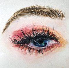 Simple Oil Painting, Summer Painting, Watercolor Paintings For Beginners, Watercolor Projects, Easy Eye Drawing, Art Sketches, Art Drawings, Watercolor Eyes, Eye Sketch