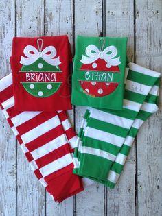 Monogrammed Christmas ornament name pajamas. Xmas pjs with name. Handmade Christmas, Christmas Crafts, Christmas Ornaments, Christmas Ideas, Etsy Christmas, Christmas Outfits, Christmas Sewing, Christmas Stuff, Christmas Shirts