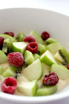Apple, kiwi, and raspberry fruit salad