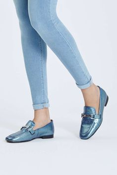 Borrow from the boys with these luxe leather loafers. An on-trend androgynous style, these easy slip-ons are totally wearable with a metallic hardware detail, and perfect styled back with tailored trousers. Mules Shoes, Loafer Shoes, Shoes Heels, Shoes Sneakers, Wedge Sneakers, Narrow Shoes, Kinds Of Shoes, Girls Shoes, Ladies Shoes