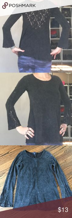 Lace back bell sleeve top Like new! Size xs has lace cutout on back and sleeves. Very cute boho style top. Tops