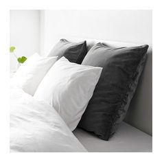 "Two SANELA Cushion covers in gray velvet $10 each (Insert pillows are $7-9 each) - IKEA 26"" x 26"""