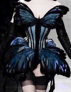 // Jean Paul Gaultier Haute Couture // Blue Butterfly Corset - wearable art with silhouette; Jean Paul Gaultier, Fashion Art, High Fashion, Fashion Design, Trendy Fashion, Fashion Black, Emo Fashion, Dress Fashion, Corsets