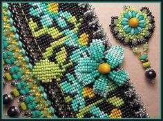 """Spring is finally here!     In celebration, my next 'Bead Loom Class', will have a flower theme.   """"Daised Cuff"""", below, offers 3D petals ..."""