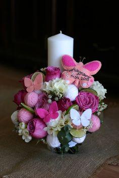 Flowers of Soul: Lumanari de botez Candle Decorations, Baby Party, Paper Flowers, Wedding Flowers, Boxes, Bouquet, Candles, Weddings, Bride