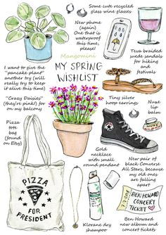 My spring wishlist Cindy Mangomini Art Journal Pages, Art Plastique, Watercolor Illustration, Doodle Art, Cute Drawings, Planner Stickers, Collages, Doodles, Artsy
