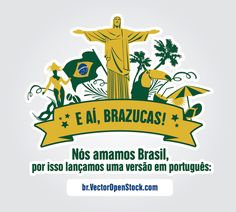 """We love Brazilian people, and for that reason we have now a new version of our website in Portuguese language: br.vectoropenstock.com. This cool background shows a label with the most representative elements of Brazil and a label with """"E AÍ BRAZUCAS!"""" written. High quality JPG included. Under Commons 4.0. Attribution License."""