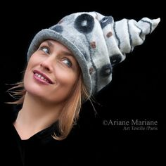 Felt women hat black white head sculpture unique by ArianeMariane