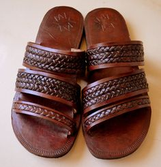 791757ead13a Moroccan Inspired Triple Braided Leather Sandals-Handmade Sandals