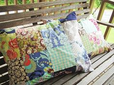I love simple, vintage-y patchwork in a pillow or even a table runner