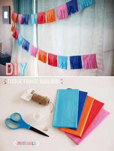DIY Tutorial: Colorful Tissue Fringe Garland - future KG cinco de Mayo parties Diy Party Decorations, Birthday Decorations, Diy Party Garland, Crepe Paper Decorations, Fiesta Theme Party, Mexican Party, Diy Décoration, Diy Tutorial, First Birthdays