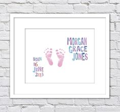 Watercolor Baby Footprints Birth Announcement Keepsake/ Personalized Baby footprint/ Boy or Girl Nursery/Watercolor Baby announcement-8x10 by DesignCreatives on Etsy https://www.etsy.com/listing/198294638/watercolor-baby-footprints-birth