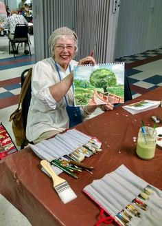 Janet with today's landscape at the Wakulla Senior Center.