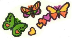 Butterflies and Hearts Mello Smello Body Language scratch and sniff sticker tattoos - 1980's