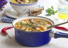 Crock-pot deilig kjottsuppe Scandinavian Food, Cheeseburger Chowder, Crock Pot, Slow Cooker, Soup, Recipe, Board, Crockpot, Recipes