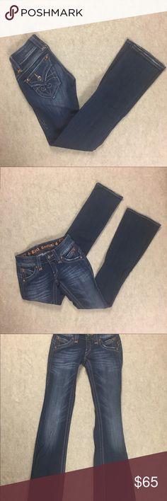 "Rock Revival Gwen Boot Cut  Dark Jeans Le Fluer Rock Revival Women's Gwen Boot Cut Jeans Embroidered Le Fluer Pocket Flaps Size 23  Gently used, light hem wear  Approximate measurements:  Waist--11.5""  Rise--6.5""  Inseam--32"" Rock Revival Jeans Boot Cut"