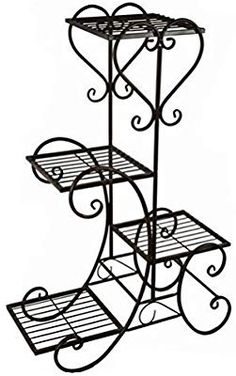 Outdoor metal furniture wrought iron 21 New ideas Garden Plant Stand, Metal Plant Stand, Wrought Iron Decor, Wrought Iron Gates, House Plants Decor, Plant Decor, Art Fer, Indoor Flower Pots, Door Gate Design