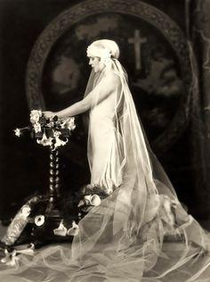 alfred cheney  1920s Wedding Dress and Juliet Cap Veil