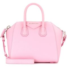 Givenchy Antigona Mini Leather Shoulder Bag (8,210 MYR) ❤ liked on Polyvore featuring bags, handbags, shoulder bags, pink, pink handbags, givenchy purse, pink leather handbags, mini shoulder bag and givenchy shoulder bag