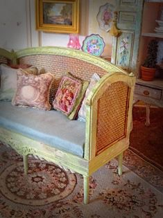 Such perfect detail!! Cane Daybed/Settee by MaritzaMiniatures on Etsy