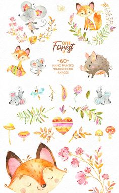 poster design software The Cute Forest part Watercolor Collection of animals This Collection included Characters, Objects, Arrangements, Wreaths, Floral Elements and other Gra Watercolor Illustration, Graphic Illustration, Watercolor Paintings, Illustrations, Poster Design Software, Watercolor Animals, Scrapbook Stickers, Forest Animals, Creative
